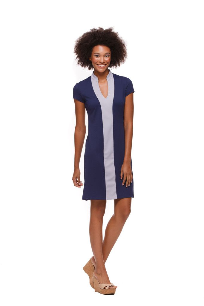 Avery Dress in Dark Blue and Silver Color Block