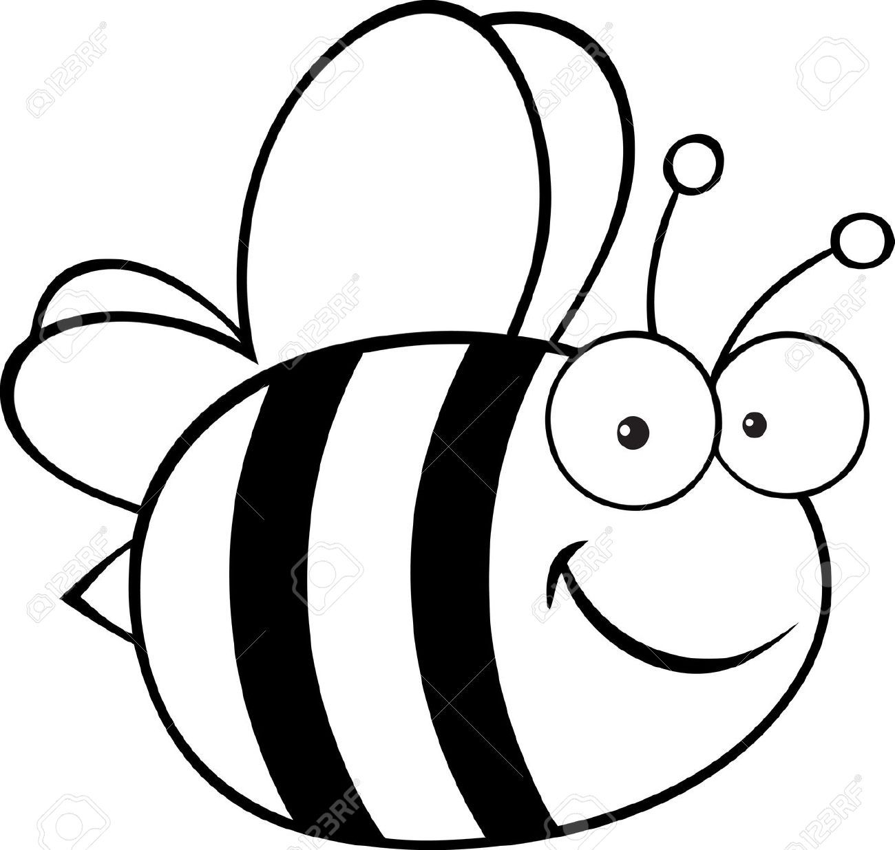 Stock Vector Bee Coloring Pages Cartoon Bee Bee Clipart