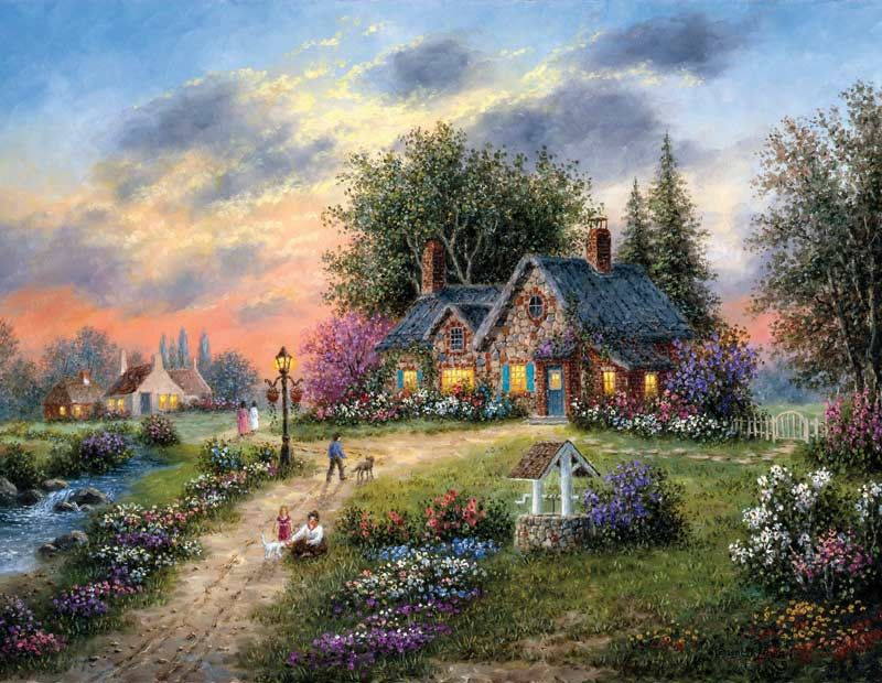 Stoney-Brook Cottage  Scenery Paintings, Scenery, Cottage Art-9009