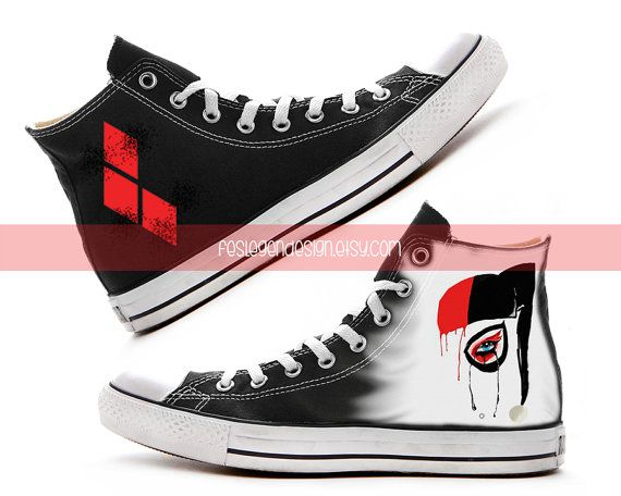 Harley Quinn Custom Converse Painted Shoes by