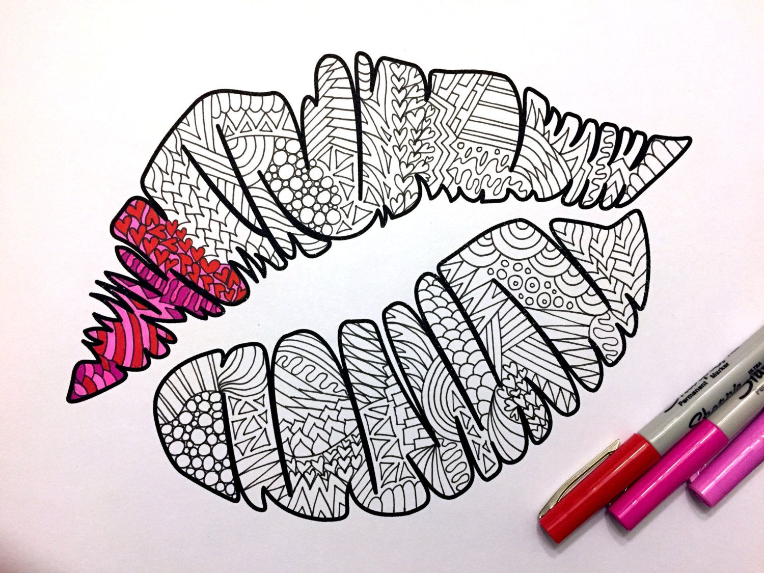 Kiss Mark PDF Zentangle Coloring Page By DJPenscript On Etsy