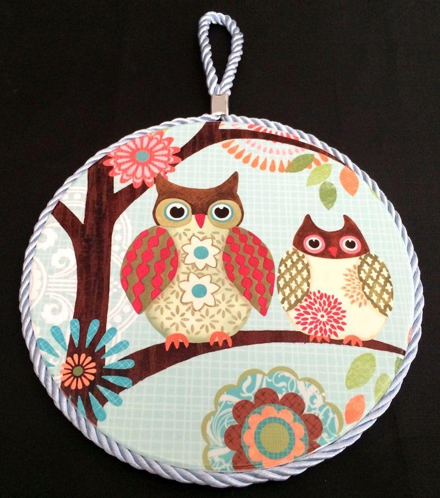 Tree Owls Round Ceramic Art Tile Cork Trivet | Cord for Wall Hanging | Teal Pink
