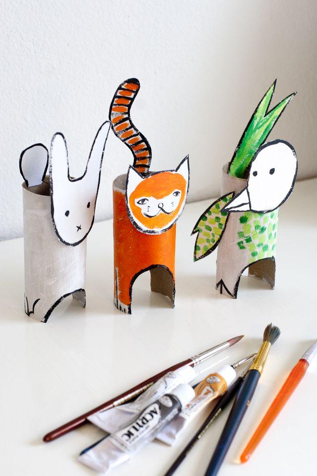 UKKONOOA: Pahvieläimet kierrätysmateriaalista / Recycled Cardboard Animals - cute kids craft to do with cardboard tubes