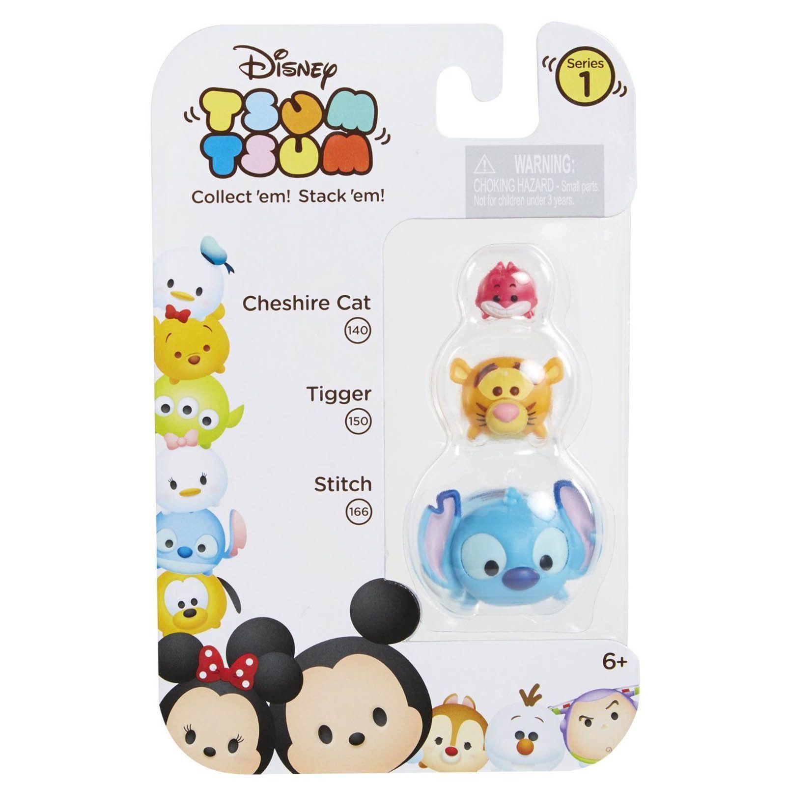 Disney Tsum Tsum Series 1 Cheshire Cat Tigger Stitch Figures 3 Pack
