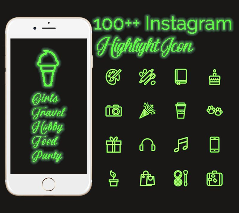 100 Neon Green Instagram Story Highlight Icons Simple