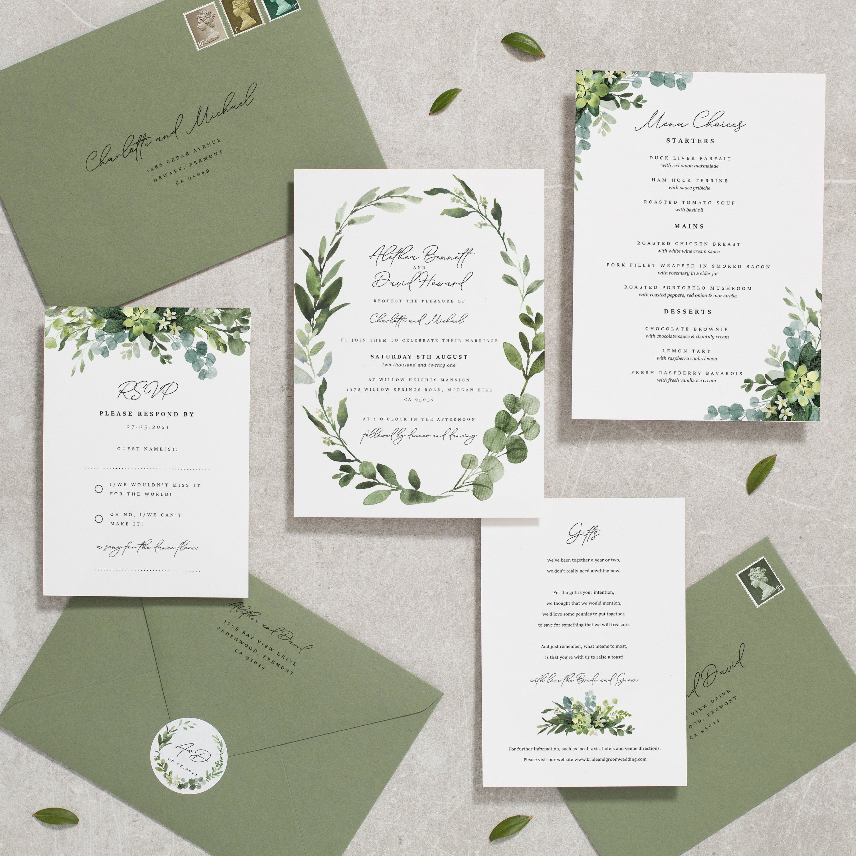 Greenery Wedding Invitation Set Green Leaf Leaves Wedding Invitations Invites Foliage Printed Olive Green Alethea Wedding Invitations Wedding Invitation Sets Greenery Wedding Invitations