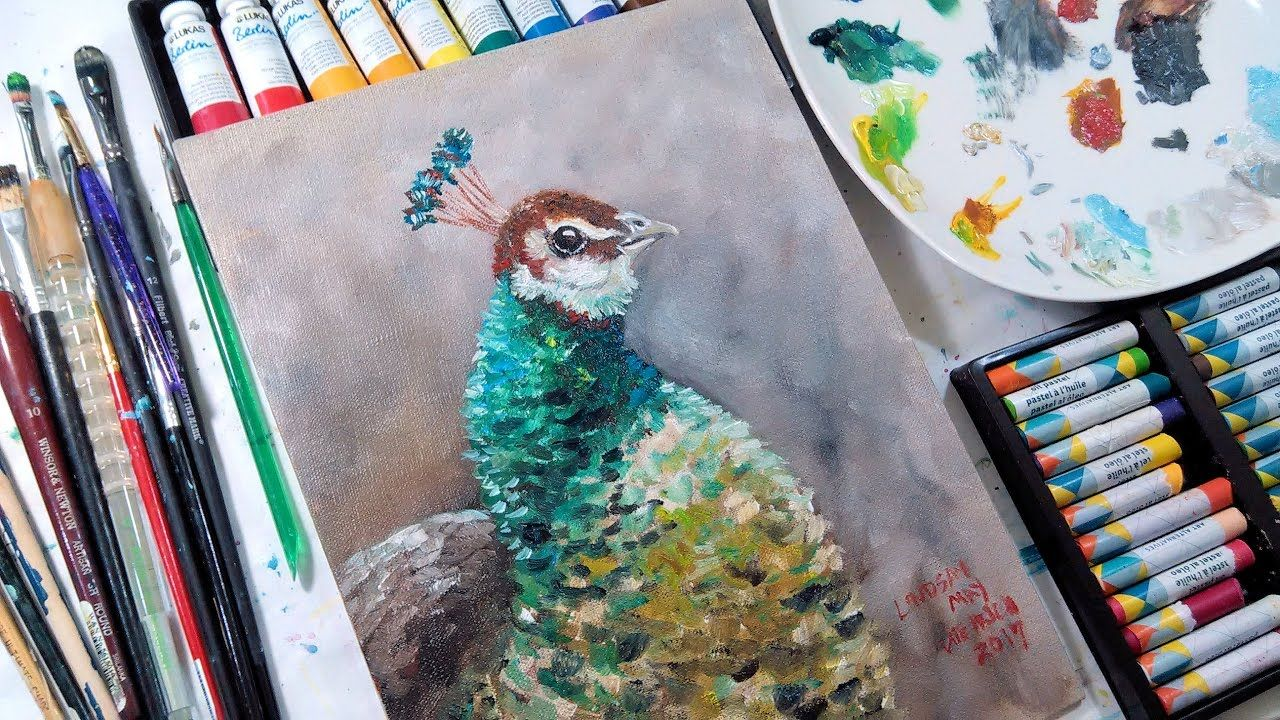Beginner oil painting tutorial peafowl in watermixable