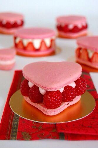 heart shaped macarons w/ raspberries