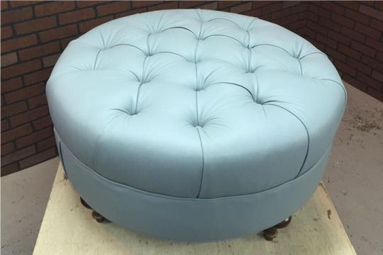 Tremendous Round Tufted Leather Ottoman Tufted Leather Ottoman Round Gmtry Best Dining Table And Chair Ideas Images Gmtryco