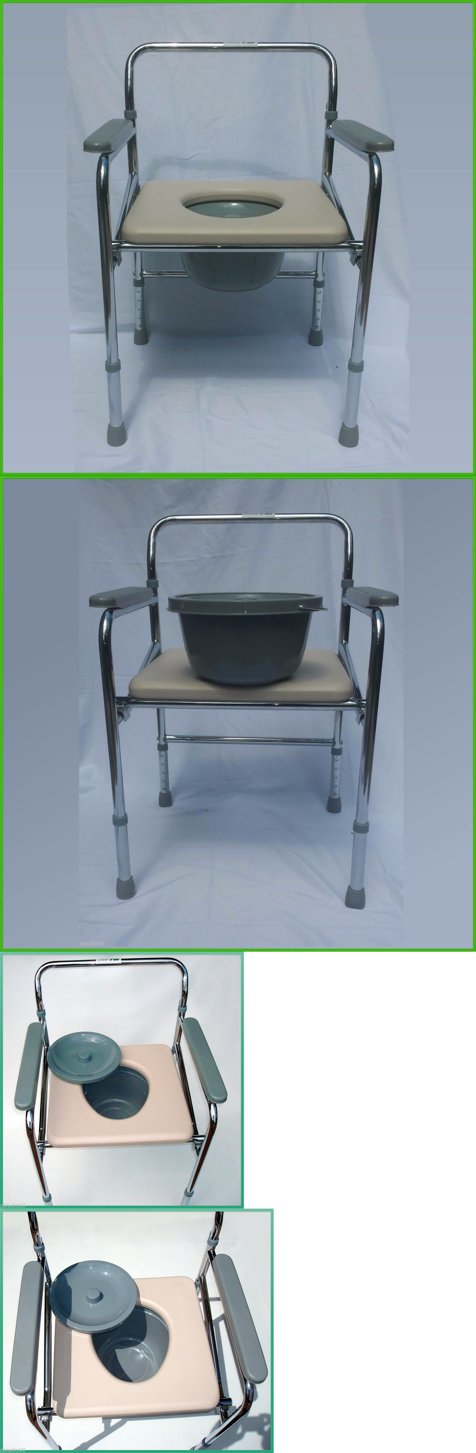 Shower and Bath Seats: Folding Commode Chair Heavy Duty Steel ...