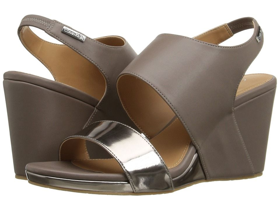 Womens Sandals Calvin Klein Bertha Ematite/Winter Taupe Metallic Box/Leather