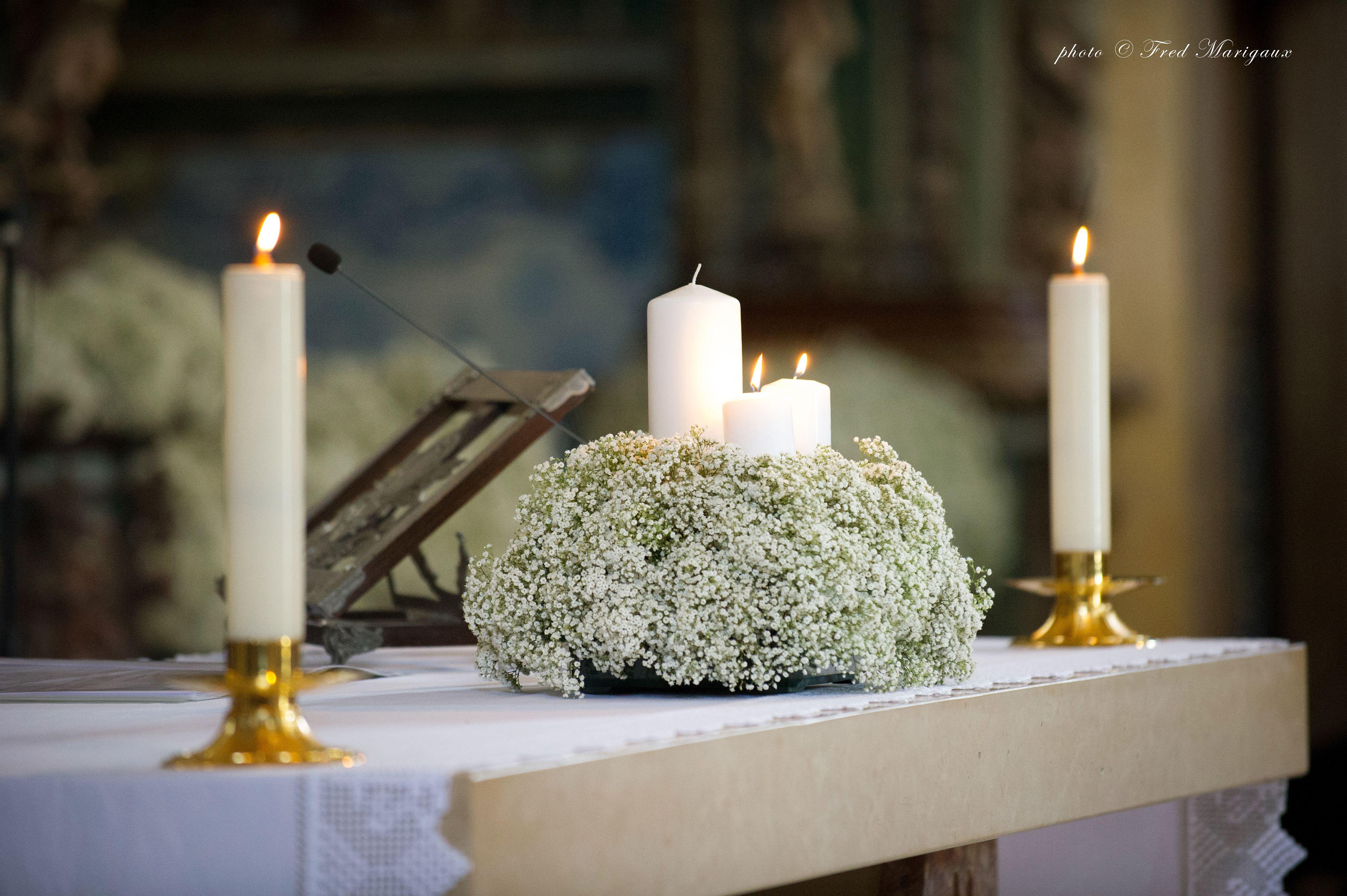 Wedding decoration ideas at church  babys breath altar decor by Tara Fay  chiesa  Pinterest  Altars