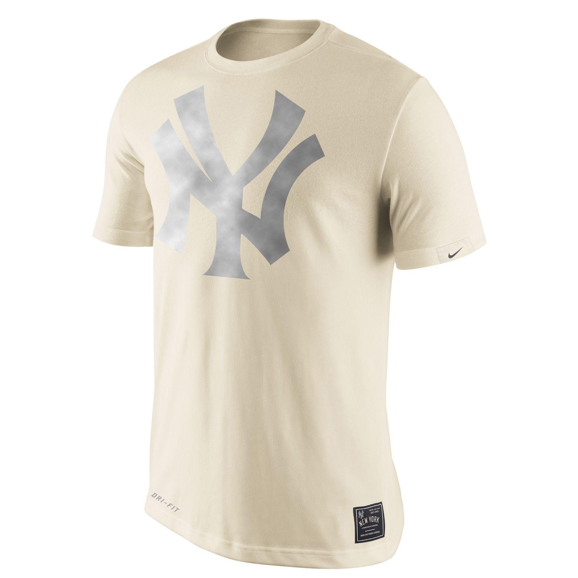 Mlb New York Yankees Nike Metallic Logo Performance T Shirt Cream New York Yankees Mens Baseball Tee Mens Tops