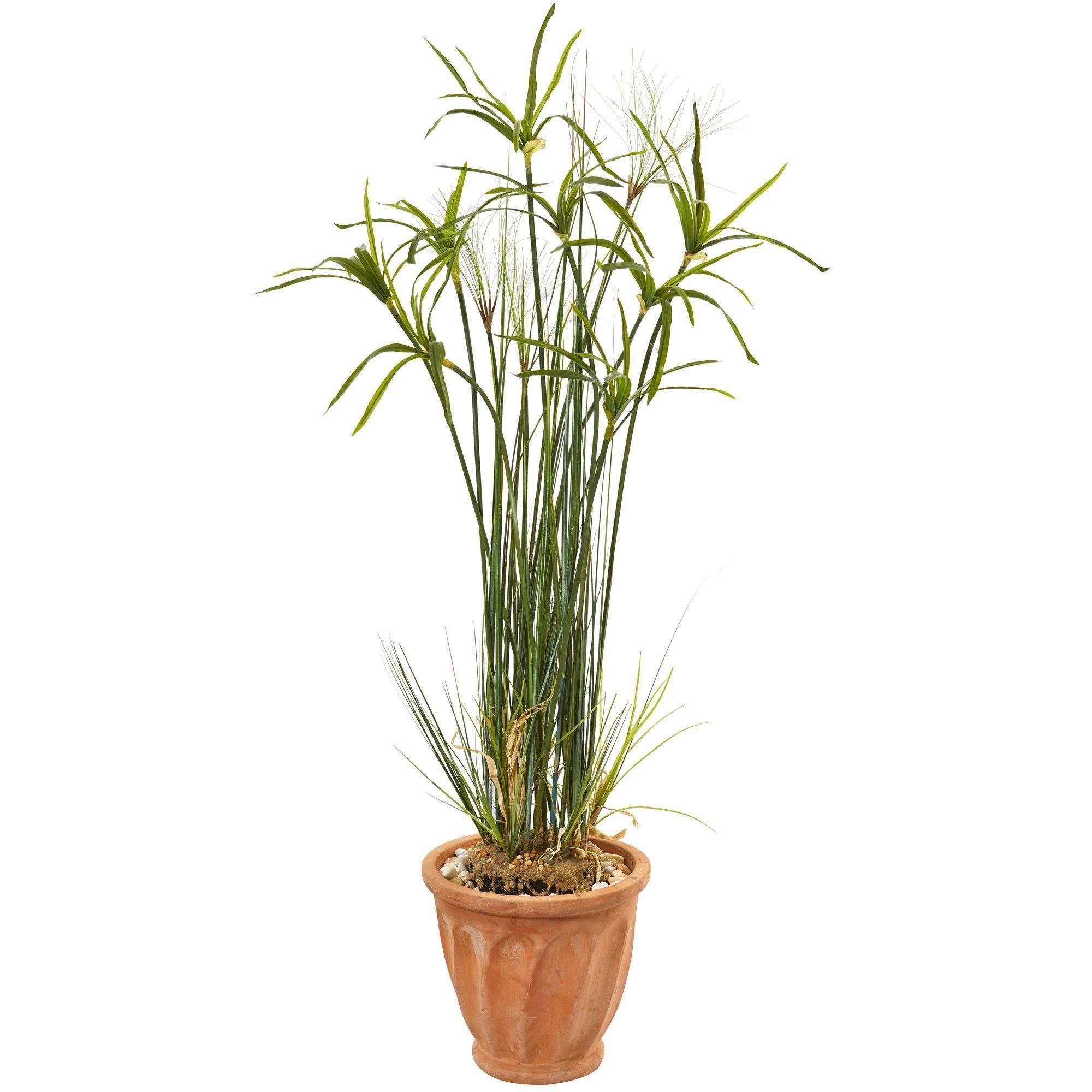 46 Papyrus Artificial Plant In Terracotta Planter Artificial Plants Artificial Foliage Terracotta Planter