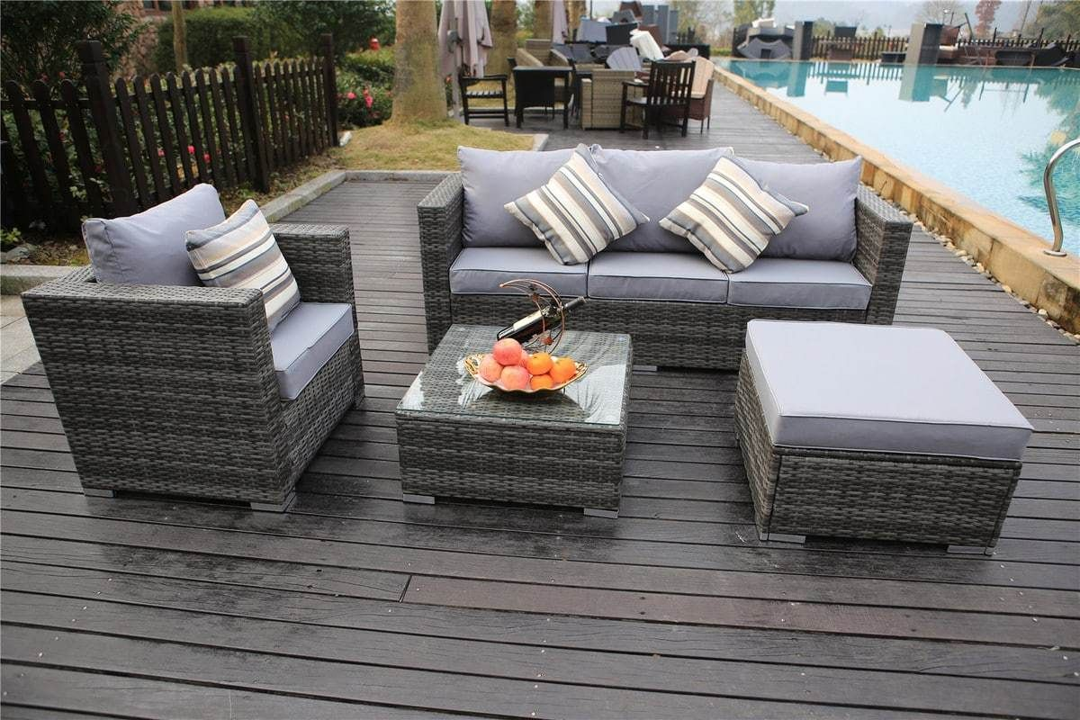 Vancouver 5 Seater Rattan Garden Furniture Set In Grey