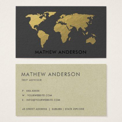 Elegant gold faux black world map personalized business card elegant gold faux black world map personalized business card professional gifts custom personal diy gumiabroncs