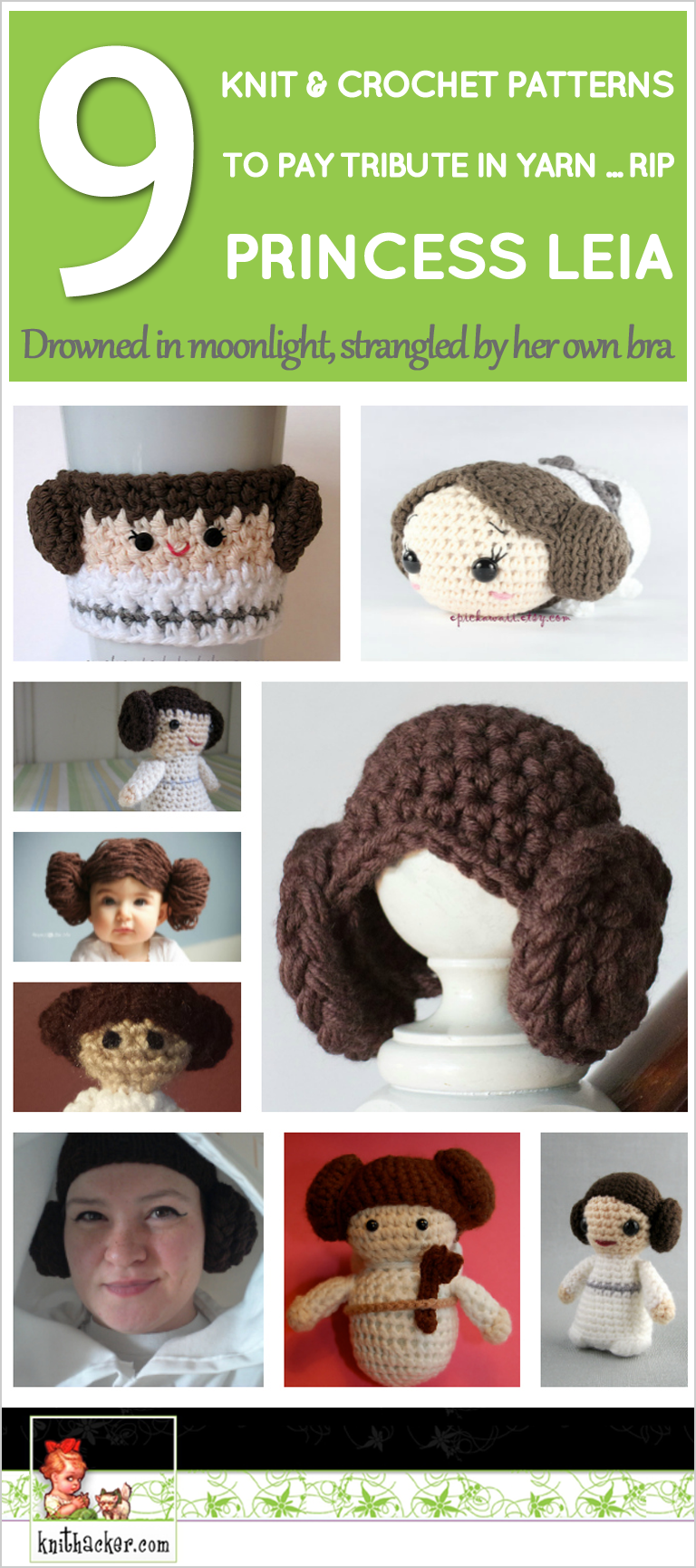 Pay Tribute to Carrie Fisher With 9 Knit and Crochet Princess Leia Patterns ... #RIP ... Drowned in Moonlight, Strangled By Her Own Bra … #Carrie #Crochet #Fisher #Knit #Leia #patterns #Pay #Princess #princess leia hair braids #Tribute