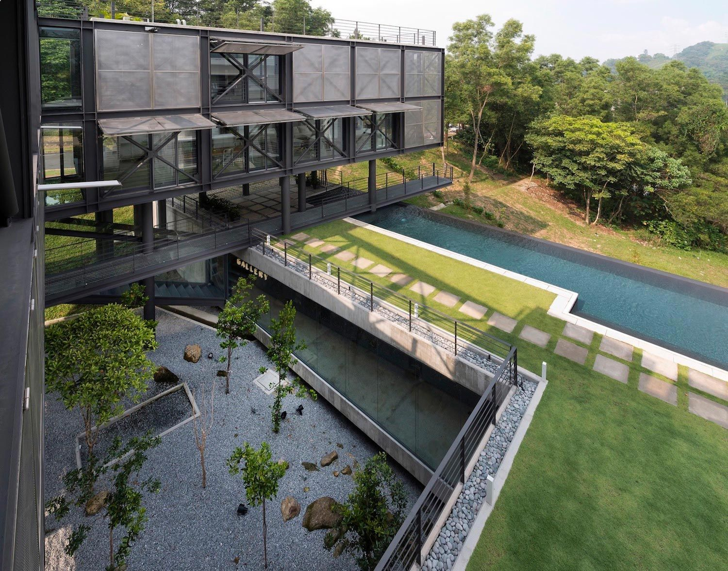 Exposed structural steel house is designed to float over the site offering spectacular rainforest views - CAANdesign | Architecture and home design blog