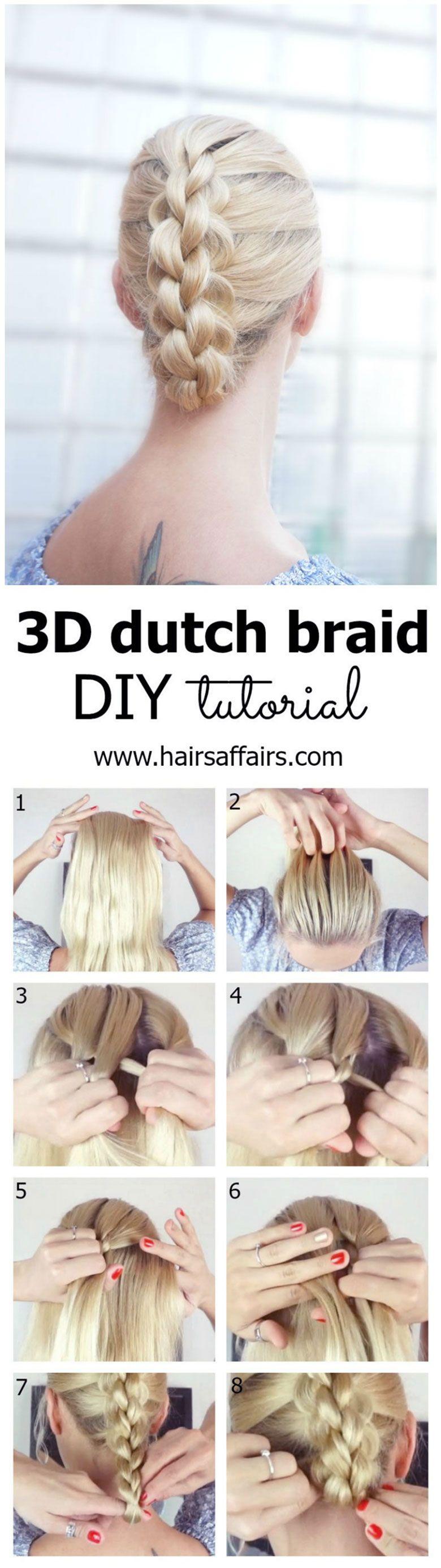 DIY 3D DUTCH BRAID TUTORIAL FOR A BAD HAIR DAY   Braid tutorials ...