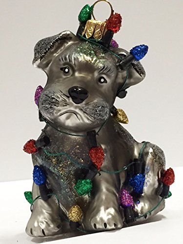 Ornaments to Remember: Schnauzer Puppy (Christmas Lights) Christmas Ornament - Ornaments To Remember: SCHNAUZER PUPPY (Christmas Lights) Christmas