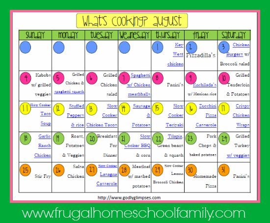 What's Cooking? August Meal Plan - Frugal Homeschool Family - this ...