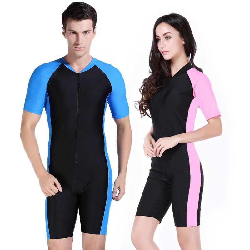 Women Men Wetsuit for swimming Trunks One Piece Snorkel Swimsuit Couple Surfing  Swimsuit Diving Suit Bodysuit Suit Pink yellow 614b94f5d