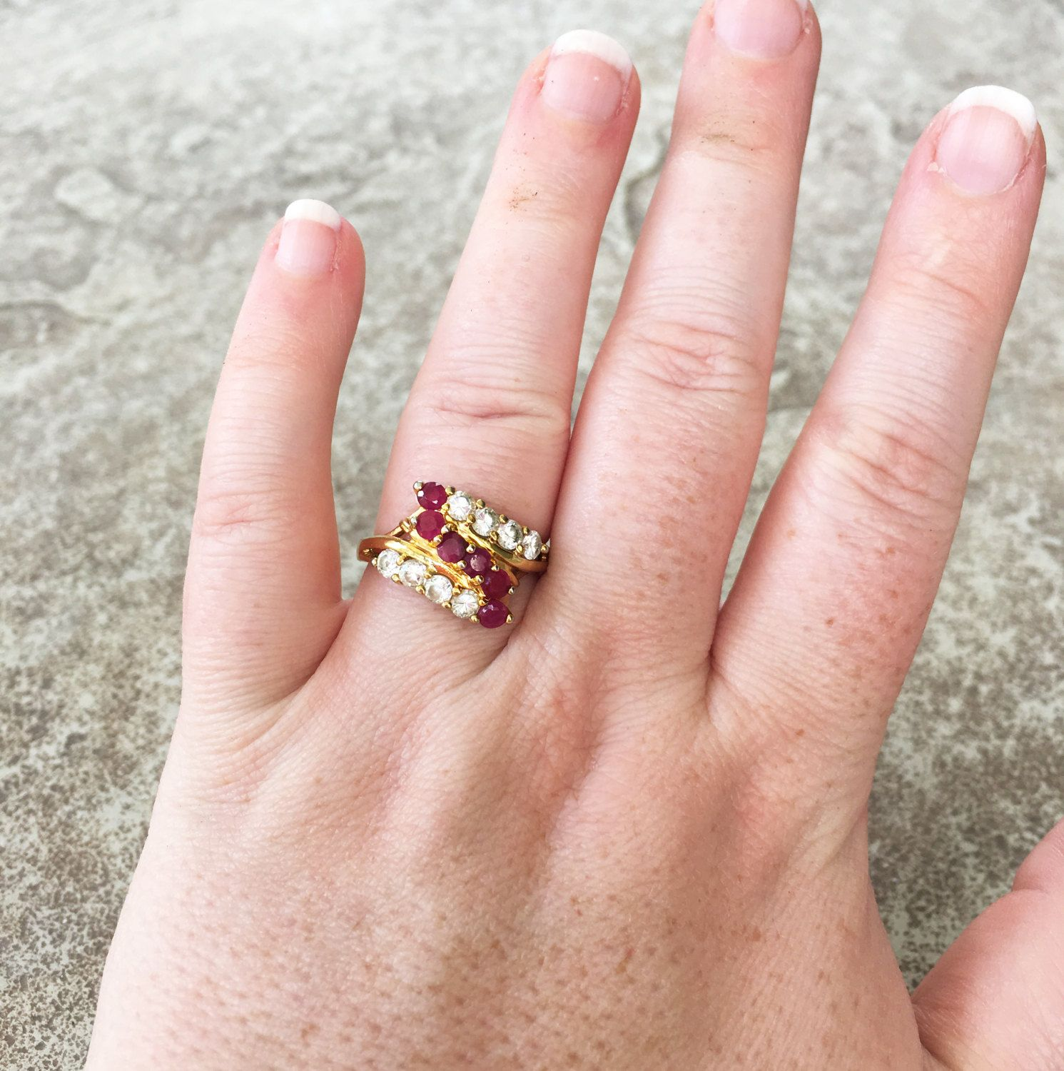Diamond and Ruby Ring, Ruby Ring Vintage, Size 8 Ring, Red ...