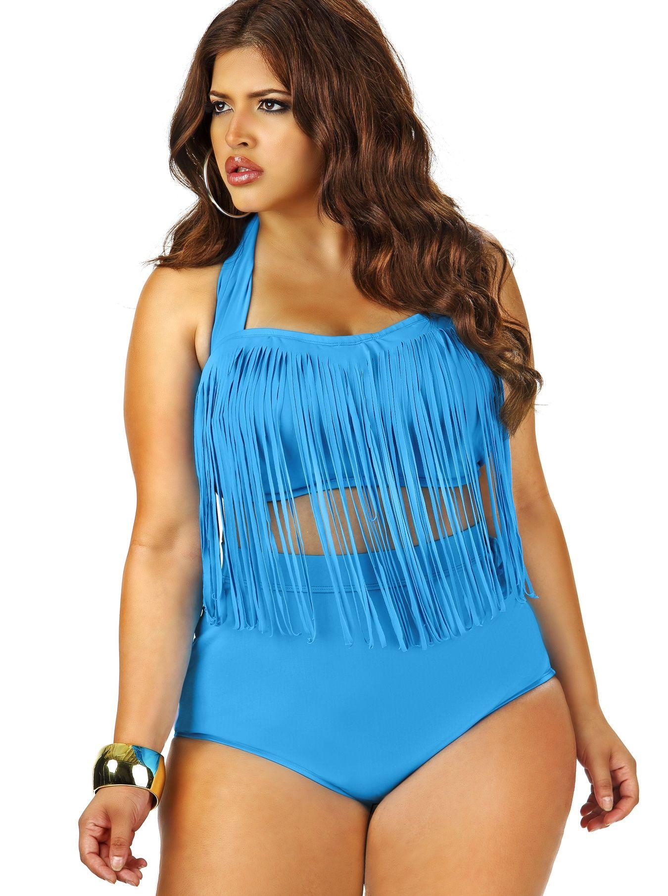 """sao paulo"""" plus size bikini fringe top w/underwire & bikini brief"""