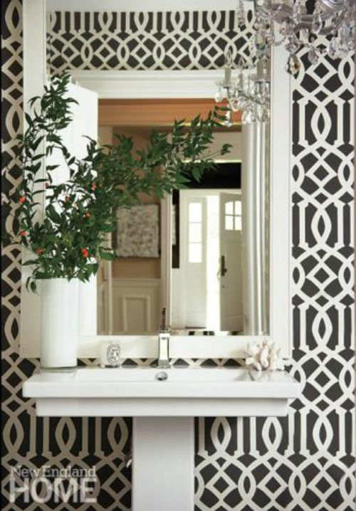 Ordinary Schumacher Imperial Trellis Wallpaper Part - 8: Bathroom In Kelly Wearstler Imperial Trellis Charcoal Wallpaper, $154.49  (http:--store.lynnchalk.com-kelly-wearstler-imperial-trellis-charcoal-wallcovering  ...