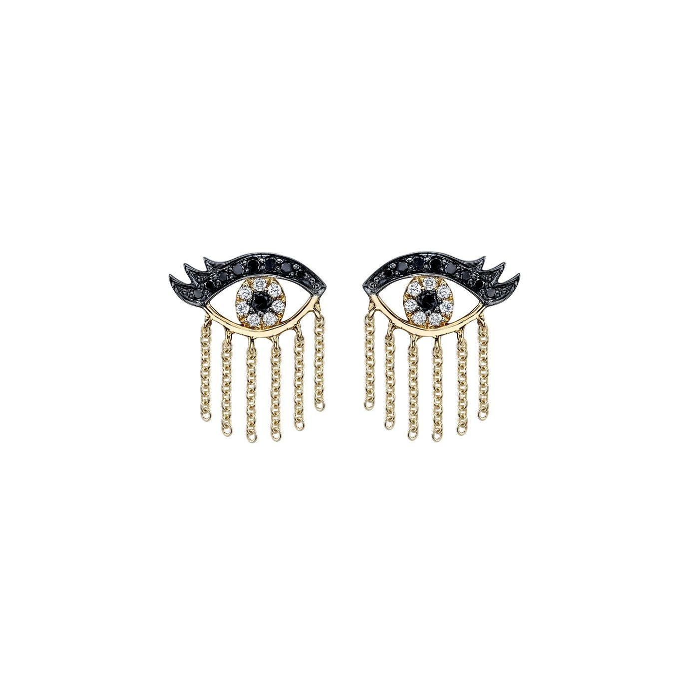 Gold Amp Diamond Eyelash Evil Eye Studs With Fringe