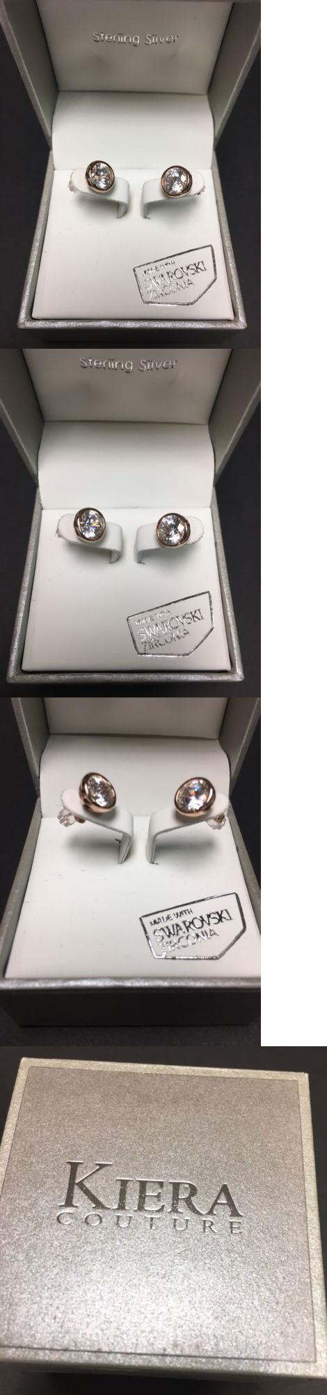 df4d419ec Earrings 50647: Kiera Couture Sterling Silver Swarovski Zirconia Crystal  Stud Earrings - Nwt BUY IT NOW ONLY: $33.99