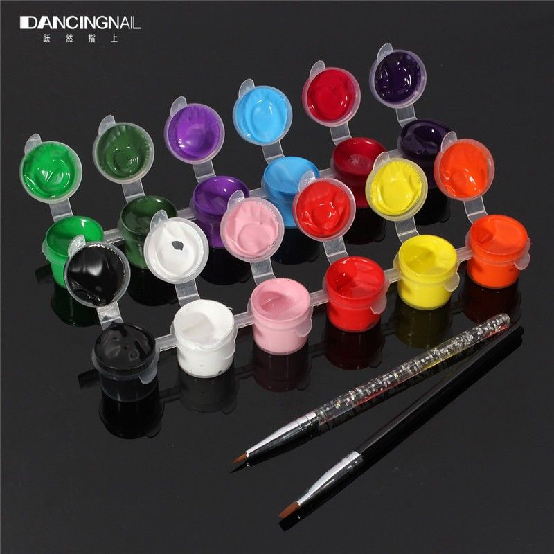 12 Colors 3D Nails Kit Paint Pallet Tool Acrylic Sets Fashion Nail ...