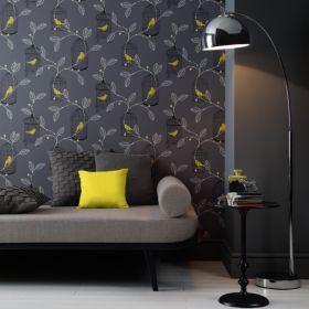 Arthouse Opera Aviary Grey Yellow Wallpaper Master Bedroom Home Bold Wallpaper Interior