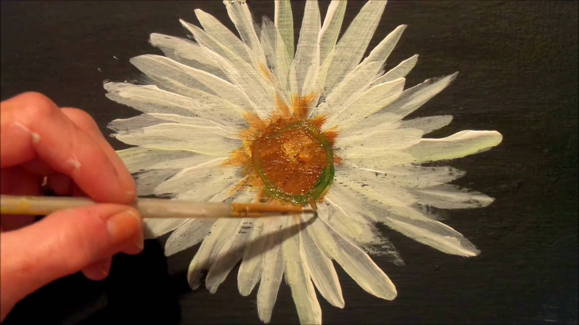 How To Paint A Daisy With Acrylic Paint Easy Step By Step