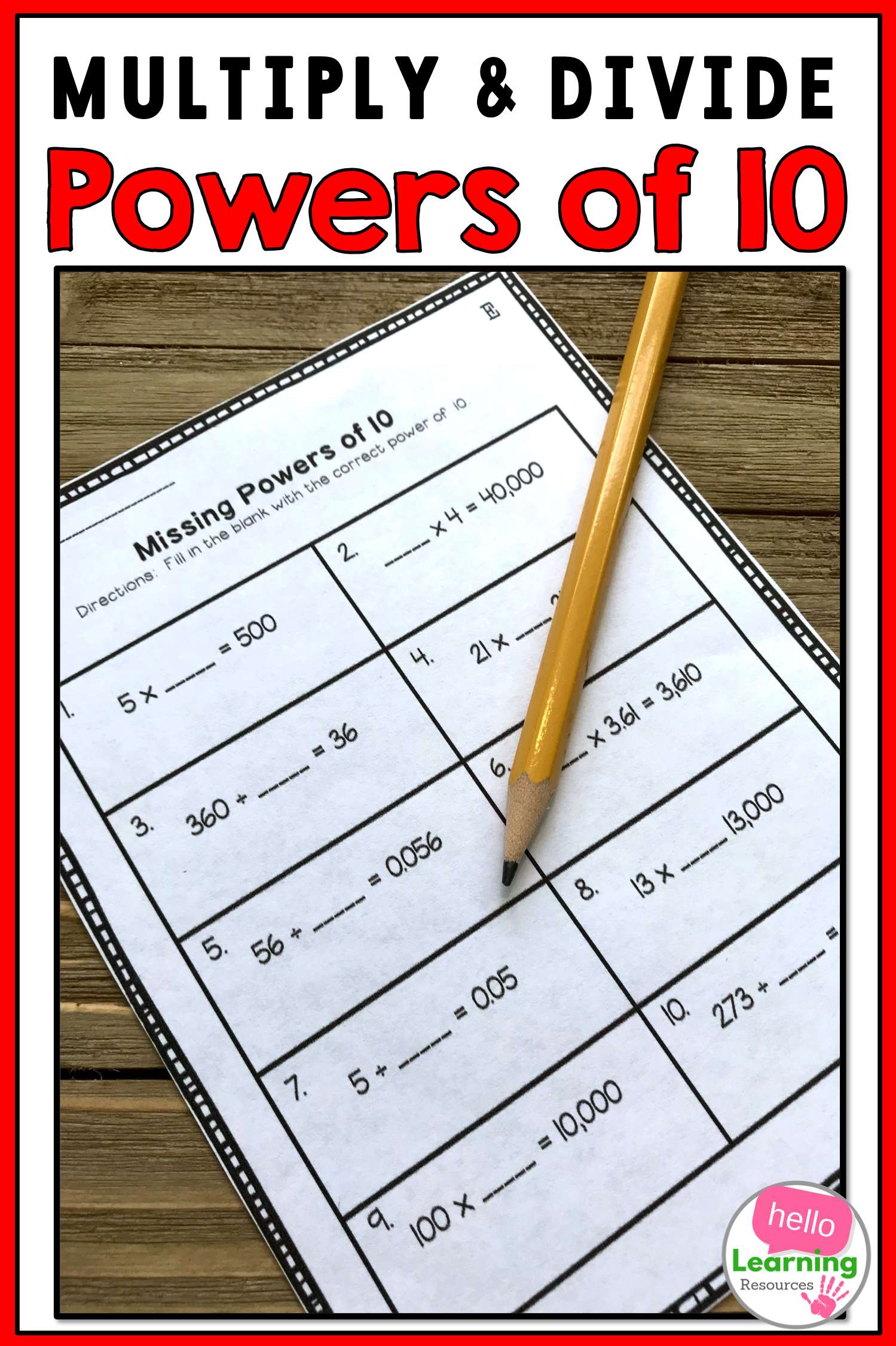 Powers Of 10 Worksheets With Images