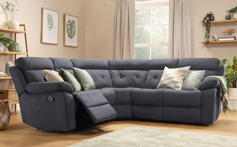 Plush Fabric Recliner Corner Sofa