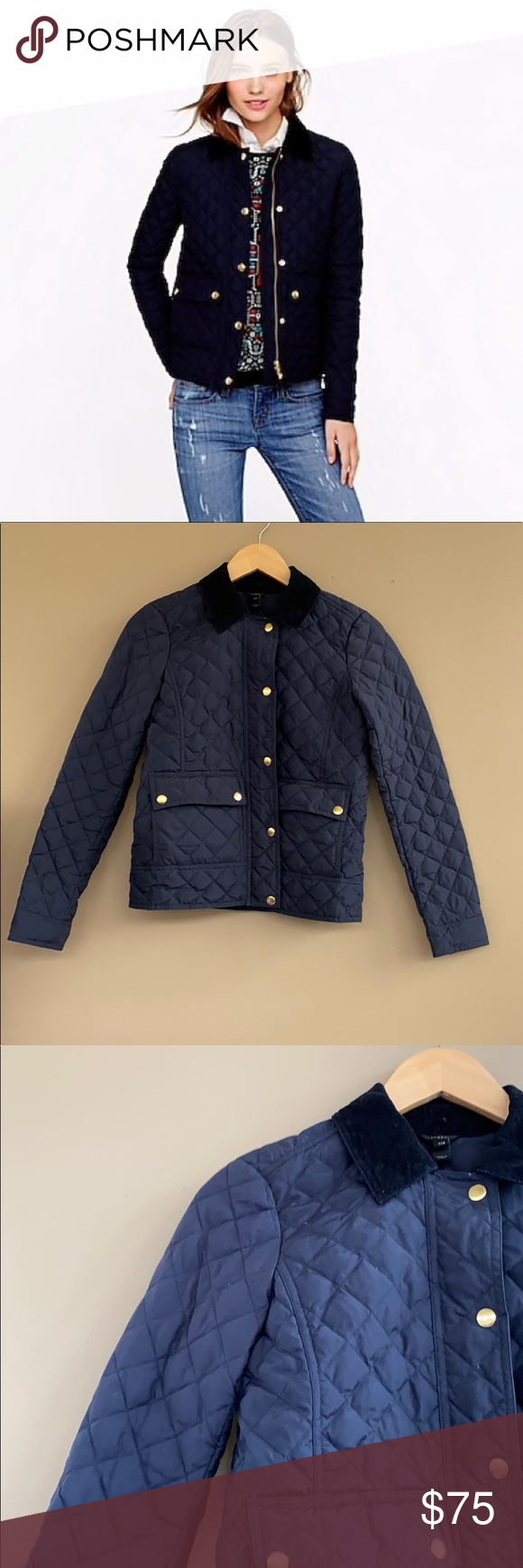 J. Crew • Quilted Puffer Tack Jacket Navy Blue | Jackets ...