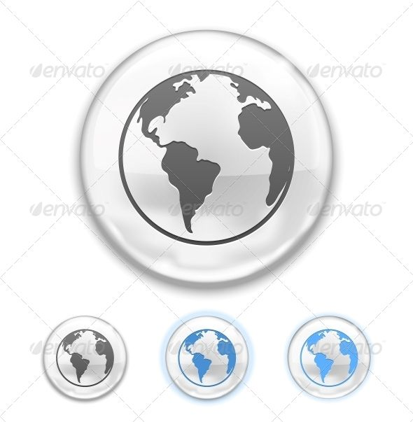 Globe Button by neyro2008 Vector Globe Button isolated on white background. Editable EPS and Renders in JPG and layered PSD