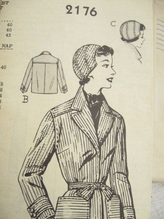 Mail Order Jacket Pattern 2176 1950s Pattern Bust 36 by