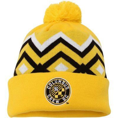 96333900b34 Mens adidas Columbus Crew SC Yellow Cuffed Knit Hat With Pom