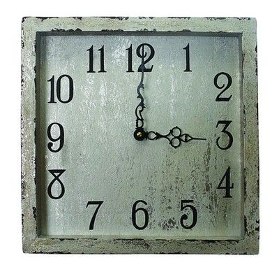 Distressed Silver Square Wood Clock