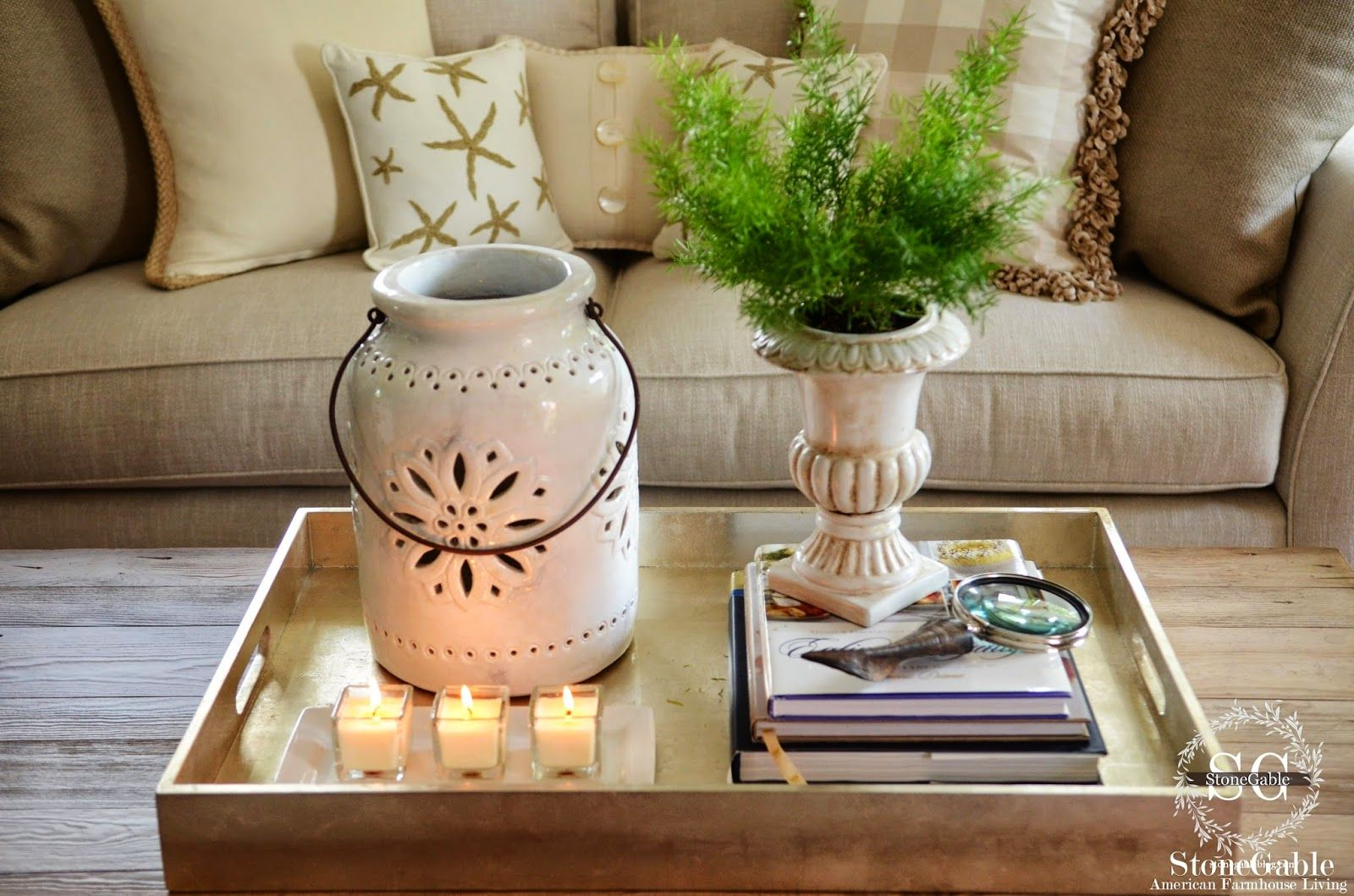 How To Decorate A Coffee Table Like A Pro Stonegable Coffee Table Decor Tray Coffee Table Decor Living Room Table Decor Living Room [ 1059 x 1600 Pixel ]