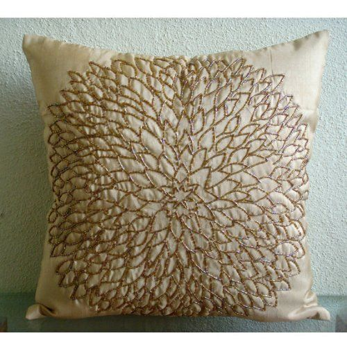 Decorative Pillows With Beads : Luxury Gold Accent Pillows, Beaded Medallion Flower Pillo... https://www.amazon.com/dp ...