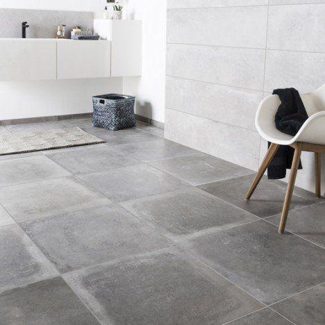 Carrelage sol et mur gris cendre effet béton Harlem l.60 x L.60 cm ...