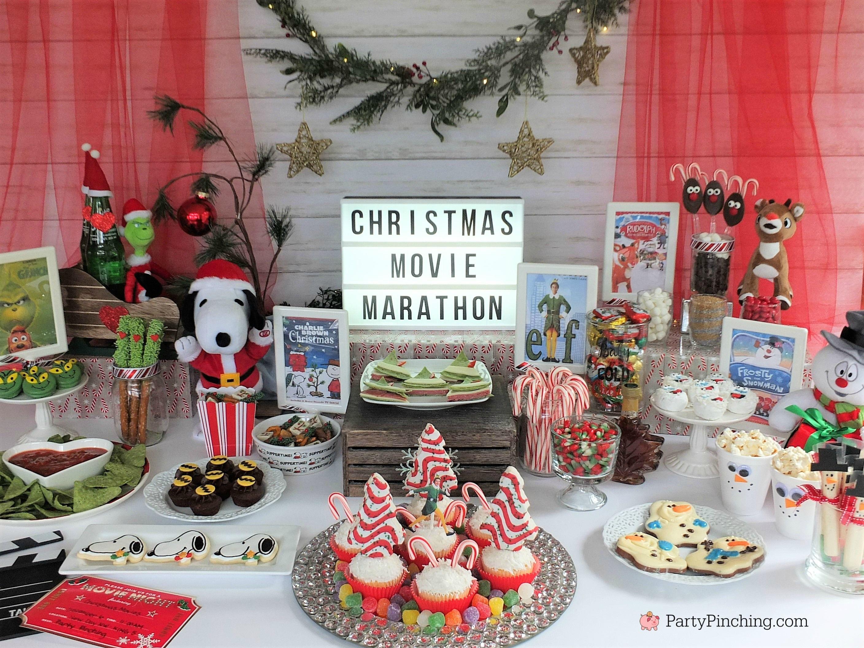 Christmas Movie Marathon Christmas Movie Night Party Ideas Rudolph Treats Bumble Abominable Snowma Kids Christmas Party Christmas Party Themes Christmas Fun