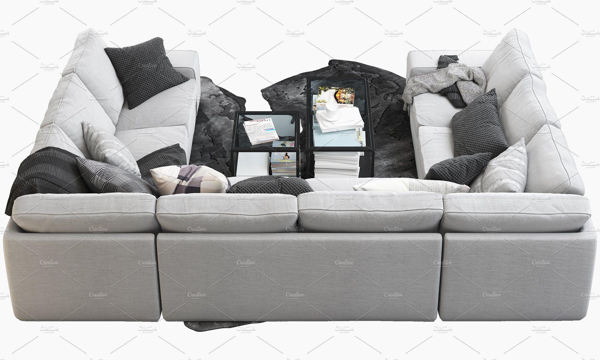u shaped sofa 3d model u shaped sofa