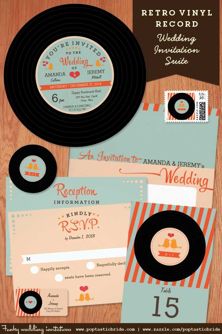 Vinyl Record Wedding Invitations Retro Invites Music Theme Rock And Roll Pinterest