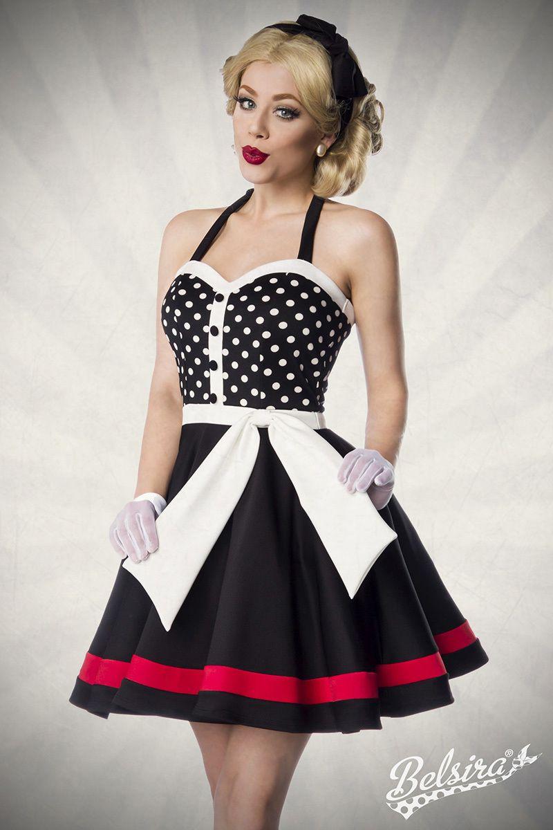 Neckholder Kleid schwarz weiss rot 1 50030 119 | Kleider