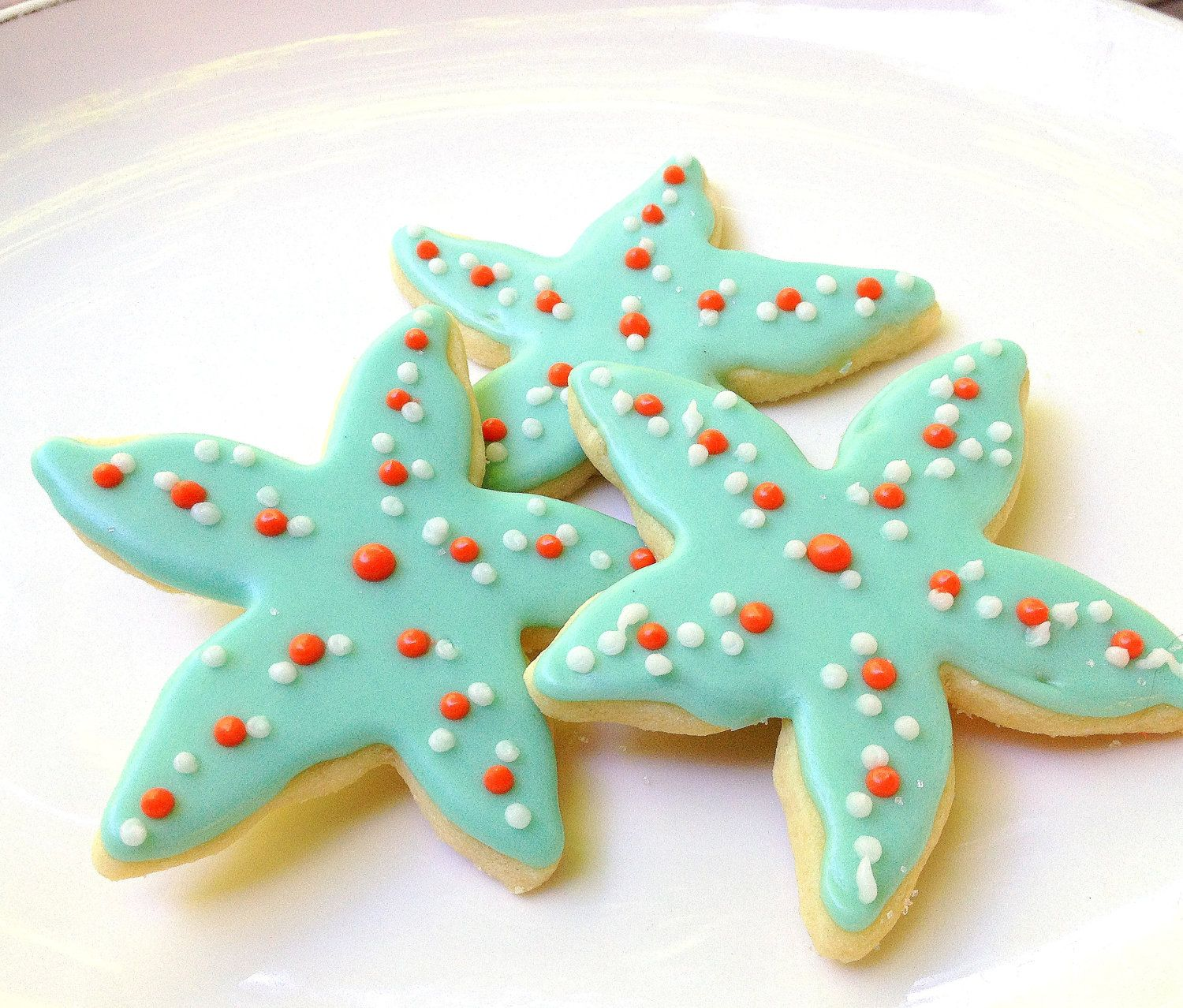 Starfish Sugar Cookie Aqua Iced Decorated by SugarMeDesserterie