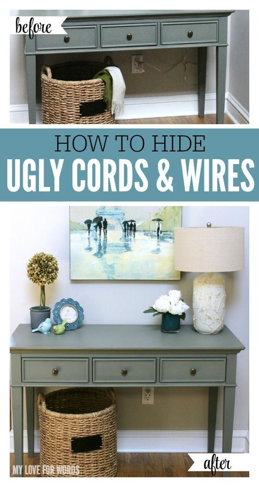 1 Simple Trick for Hiding Ugly Cords and Wires | Cord, Organizations ...